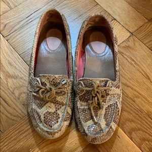 Sperry Top-sider womens brown snakeskin boat shoes
